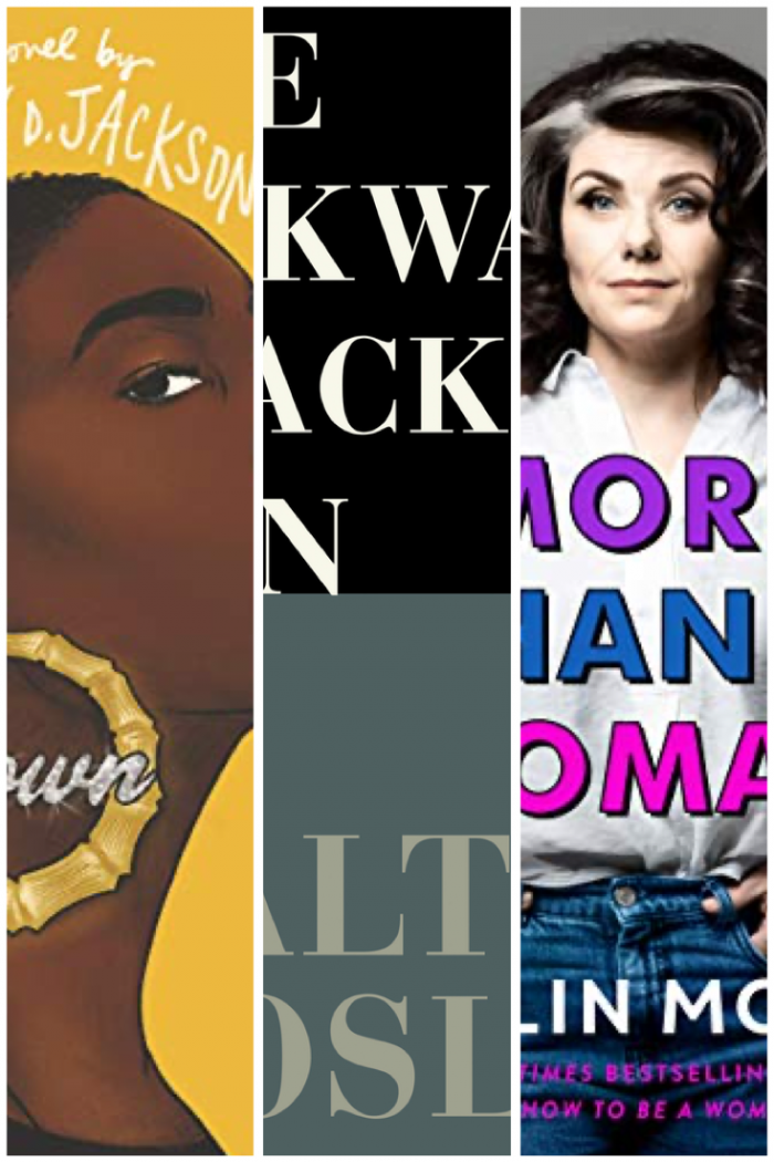 Photo collage of three books: Grown, More Than a Woman, and The Awkward Black Man